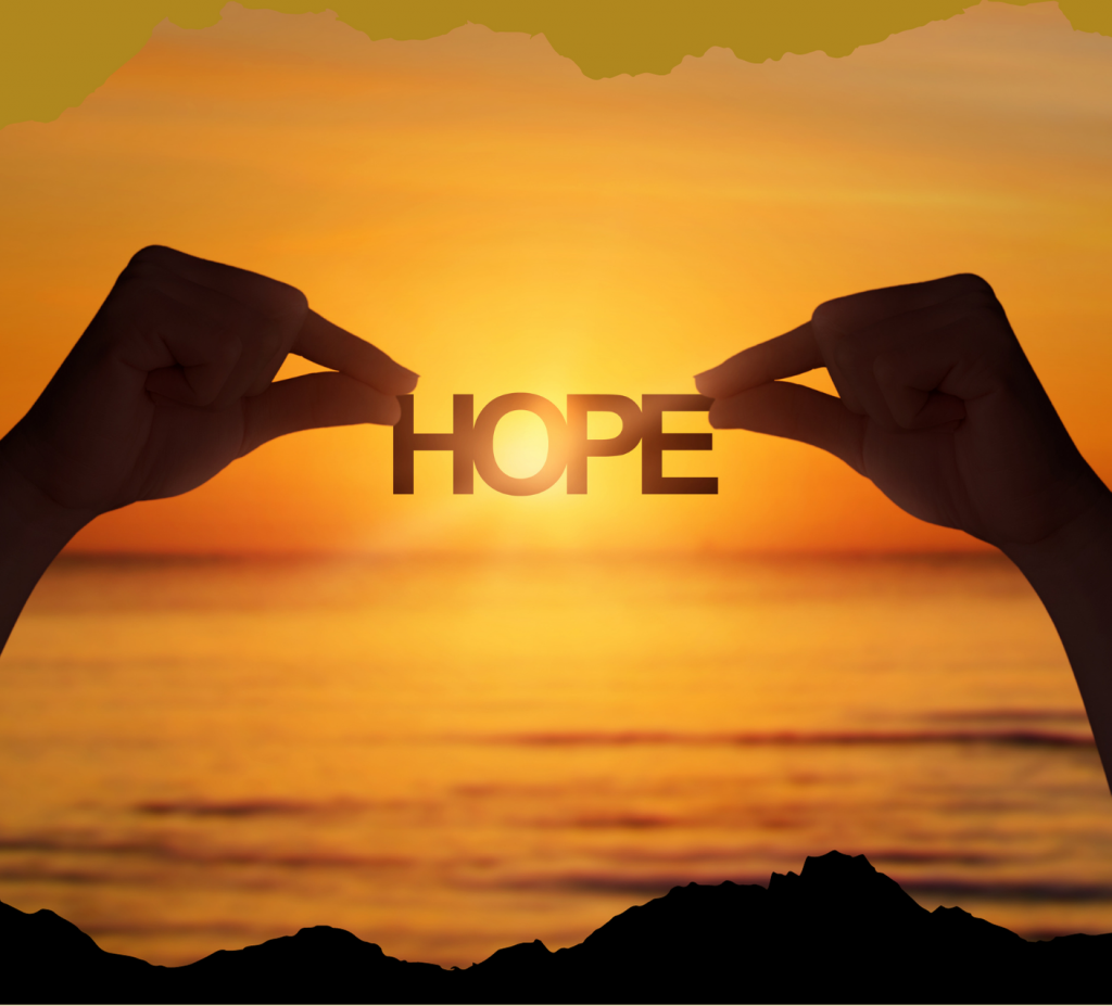Sunset showing HOPE silhouette
