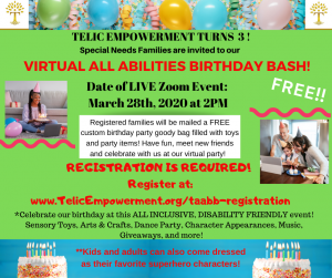 Virtual All Abilities Birthday Bash @ ZOOM